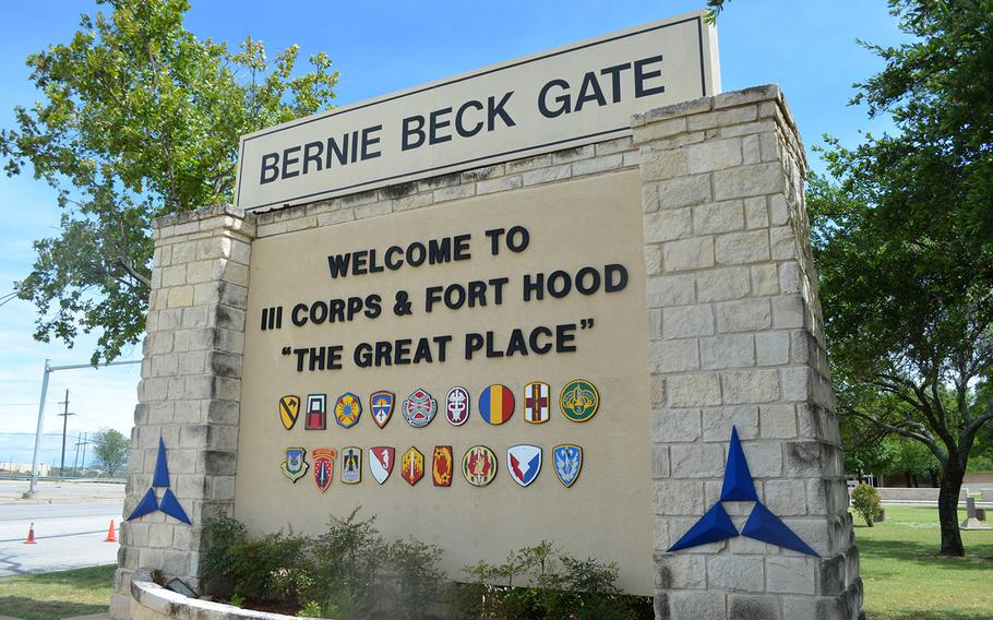 The Bernie Beck Gate at Fort Hood, Texas.