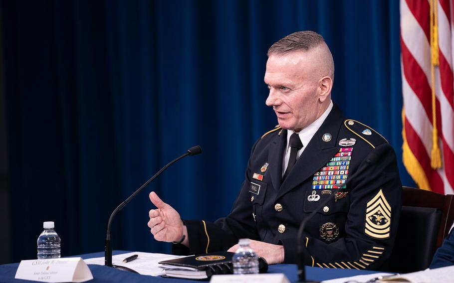 Army Command Sgt. Maj. John Wayne Troxell, senior enlisted adviser to the chairman of the Joint Chiefs of Staff, speaks as he prepares to depart the position during a news briefing in the Pentagon Press Briefing Room  on Dec. 9, 2019, in Washington.
