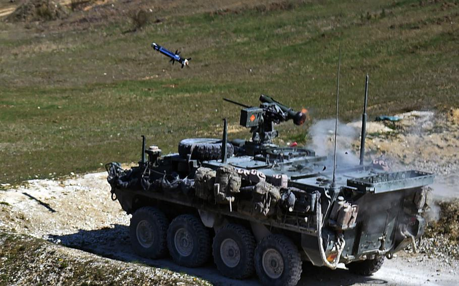 A Javelin missile launched from a Stryker armored vehicle equipped with a CROWS-J missile launcher, during a live-fire exercise at Grafenwoehr, Germany, Tuesday, April 16, 2019.