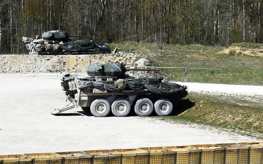 Strykers with mounted 30mm cannons during a live-fire exercise at Grafenwoehr, Germany, Tuesday, April 16, 2019.