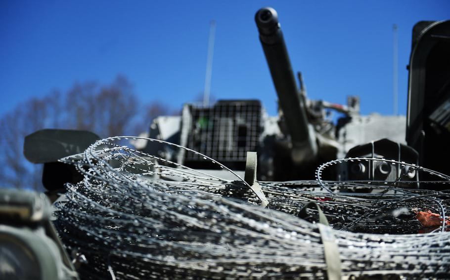 A Stryker with barbed wire during a live-fire exercise at Grafenwoehr, Germany, Tuesday, April 16, 2019.