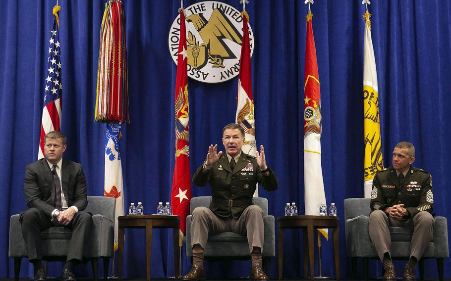 Army Chief of Staff Gen. James McConville, center, speaks at the 2019 AUSA Annual Meeting and Exposition in Washington, D.C., Oct. 15, 2019. Sitting with McConville is Secretary of the Army Ryan McCarthy, left, and Sgt. Maj. Michael Grinston.