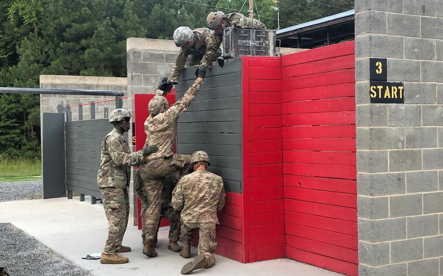 Pilot participants in the Battalion Commander Assessment Program work on problem-solving during the Leader Reaction Course at Fort Benning, Ga. in July 2019. The Army conducted two battalion commander assessment pilot programs at Fort Benning, Ga. this summer.