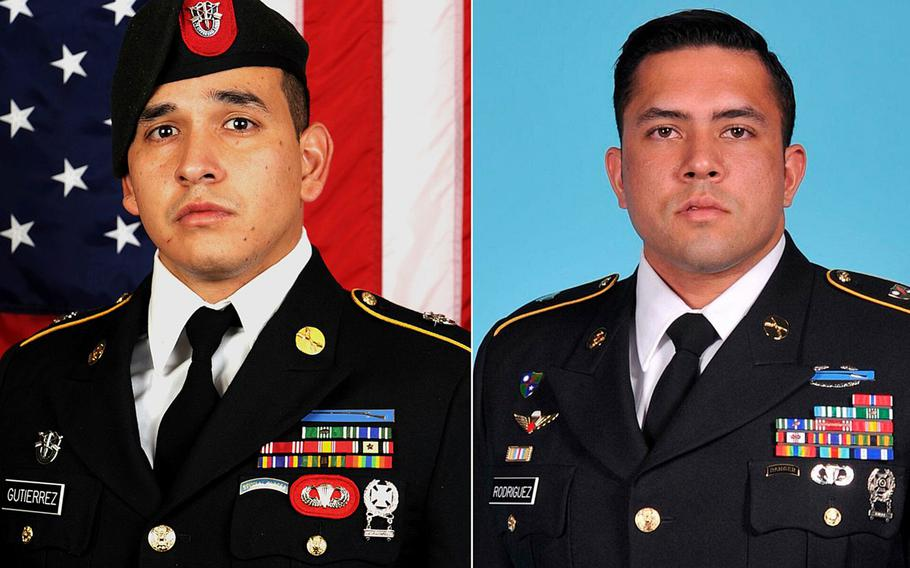 Sgt. 1st Class Javier J. Gutierrez, left, and Sgt. 1st Class Antonio R. Rodriguez, both 28, were killed in an apparent insider attack in eastern Nangarhar province on Feb. 8, 2020.