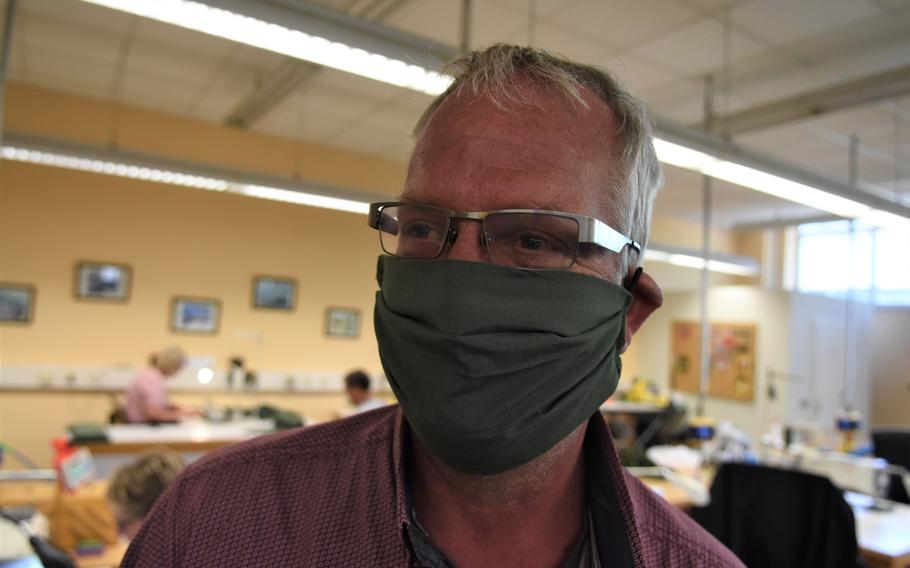Marcus Ziegler has put his sewing skills to use this week making face masks for civilians with the Theater Logistics Support Center Europe. On Wednesday, Ziegler and his colleagues made 240 masks at Kaiserslautern Army Depot, Germany.