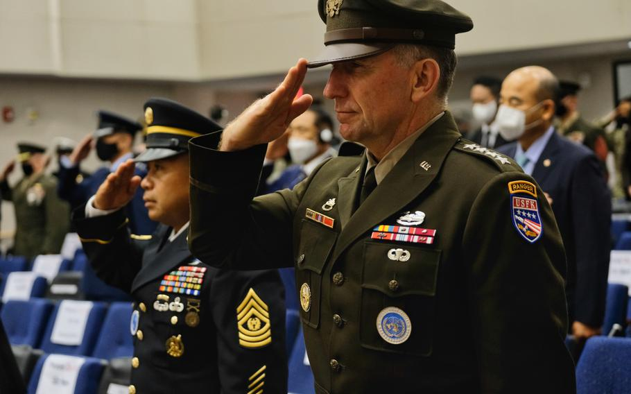 """U.S. Forces Korea commander Gen. Robert Abrams wears the new Army Green Service Uniform during a ceremony marking the 70th anniversary of the Korean War at Camp Humphreys, South Korea, Thursday, June 25, 2020. The uniform is modeled in the service's iconic World War II-era """"pinks and greens."""""""