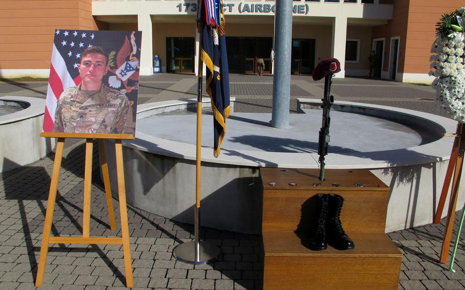Sgt. Cade Pendergraft, an infantryman with the 173rd Airborne Brigade who died last month in a hiking accident, was memorialized Friday, Oct. 16, 2020, at Caserma Del Din in Vicenza, Italy.