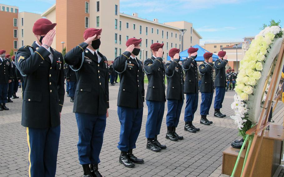 Soldiers with the 173rd Brigade's 2nd Battalion, 503rd Infantry Regiment give one last salute to Sgt. Cade Pendergraft during a memorial Friday, Oct. 16, 2020, in front of brigade headquarters in Vicenza, Italy. Pendergraft died in a hiking accident in September 2020.