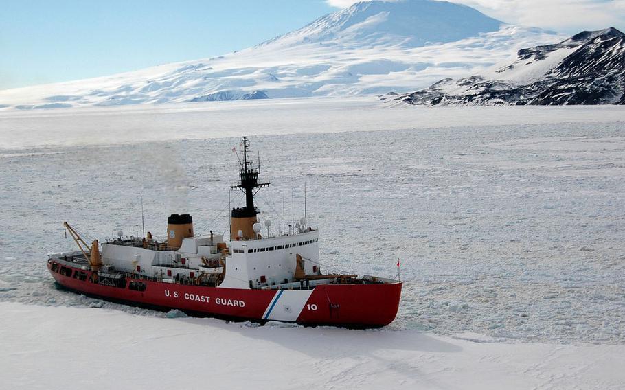 The U.S. Coast Guard's Polar Star plows through ice in Antarctic waters, Feb. 15, 2006.