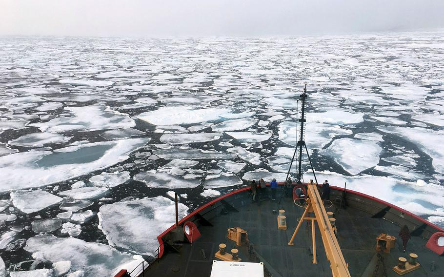 The U.S. Coast Guard Icebreaker Healy on a research cruise in the Chukchi Sea of the Arctic Ocean.