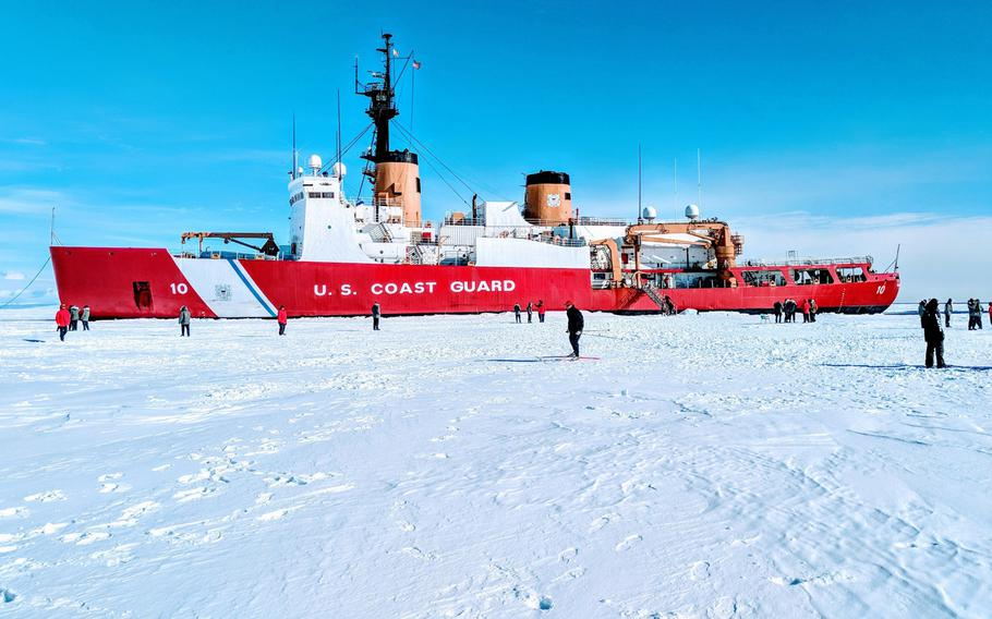 Members of the Coast Guard Cutter Polar Star, the only U.S. heavy icebreaker, explore the Antarctic ice in January 2018. VT Halter Marine, a Mississippi shipbuilder, has been awarded a $746 million contract for a new heavy polar icebreaker, now called a Polar Security Cutter, to replace the Polar Star, with possibly two more to follow.