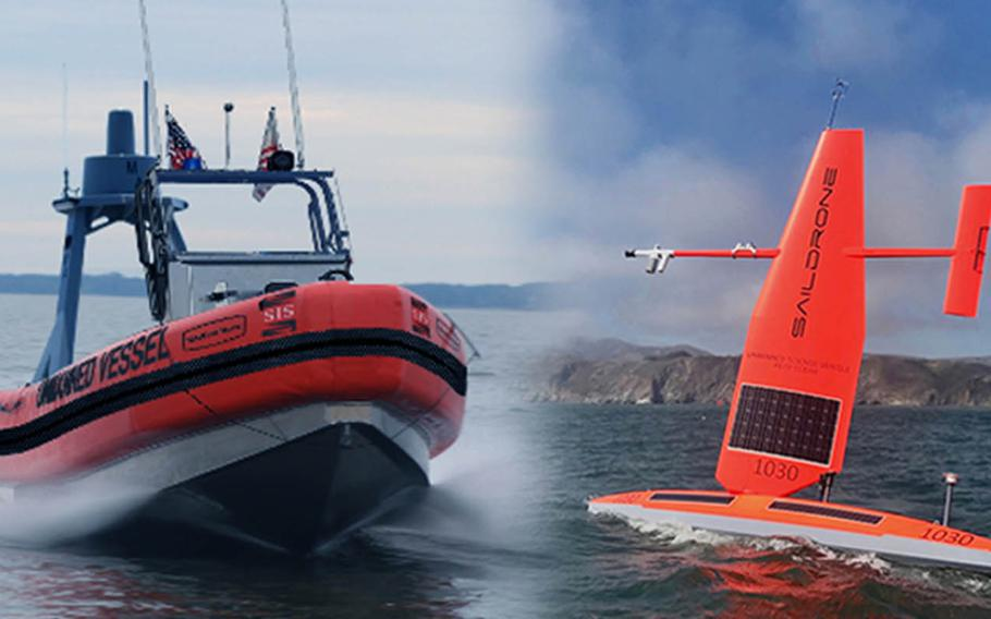 The U.S. Coast Guard is conducting a monthlong assessment in Hawaii on the efficacy of unmanned vessels in the service's mission using drones from SailDrone, right, and Spatial Integrated Systems, whose model is shown in a concept photo on the left.