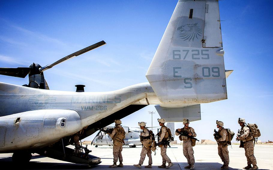U.S. Marines with the 26th Marine Expeditionary Unit board an MV-22B Osprey at King Faisal Air Base in Jordan, June 14, 2013, during the Eager Lion exercises.