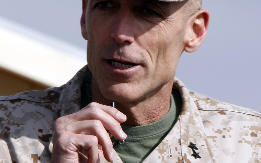U.S. Marine Corps Maj. Gen. Gregg A. Sturdevant, commanding general, 3rd Marine Aircraft Wing (MAW) Forward, speaks during a transfer of authority ceremony, Camp Leatherneck, Helmand Province, Afghanistan, Feb. 16, 2013.