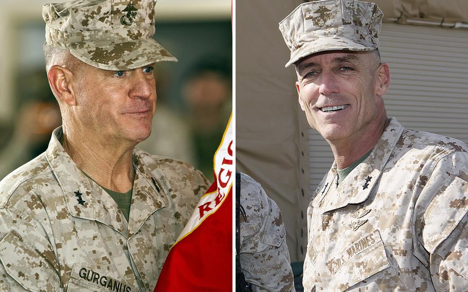 Maj. Gen. Charles M. Gurganus, left, and Maj. Gen. Gregg A. Sturdevant were forced into retirement Sept. 30, 2013, after Commandant of the Marine Corps Gen. James Amos concluded they should be held to account for failing to secure a base in Afghanistan against a Taliban attack that killed two Marines in 2012.