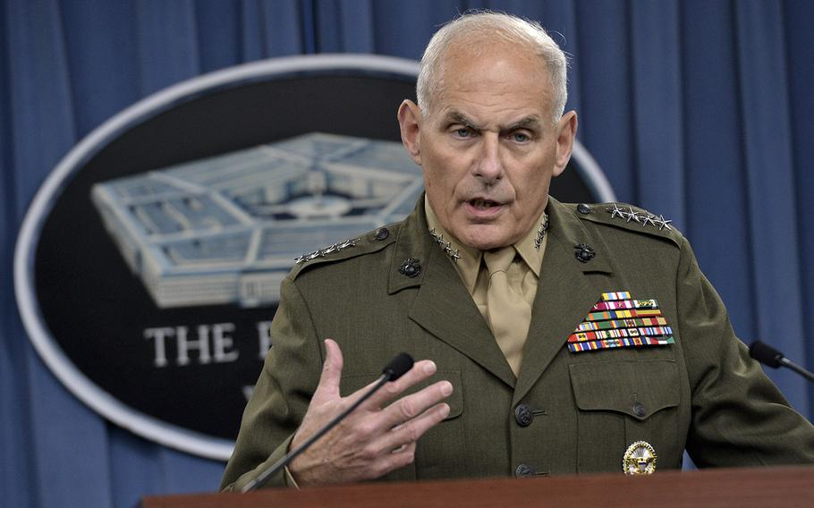 U.S. Marine Corps Gen. John F. Kelly answers questions at the Pentagon on March 13, 2014.