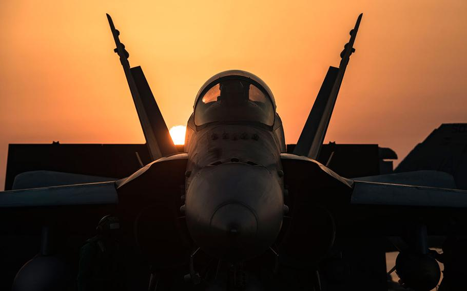 An F/A-18C Hornet assigned to the Wildcats of Strike Fighter Squadron (VFA) 131 prepares to launch from the flight deck of the aircraft carrier USS Dwight D. Eisenhower on July 31, 2016.