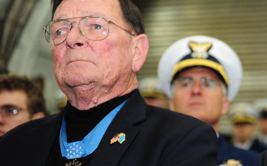 Retired Marine Master Sgt. Richard Pittman, photographed during a dedication ceremony on the Coast Guard Cutter Munro Jan. 5, 2011. Pittman was awarded the Medal of Honor by President Lyndon B. Johnson at a White House ceremony on May 14, 1968.