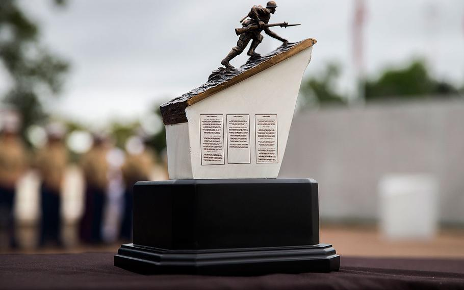 The Montford Point Marine Memorial gift is displayed during a gifting ceremony at the Montford Point Marine Memorial in Jacksonville, N.C., July 25, 2018.