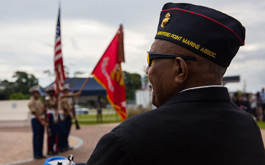 A Montford Point veteran attends the Montford Point Marine Memorial gifting ceremony at the Montford Point Marine Memorial in Jacksonville, N.C., July 25, 2018.