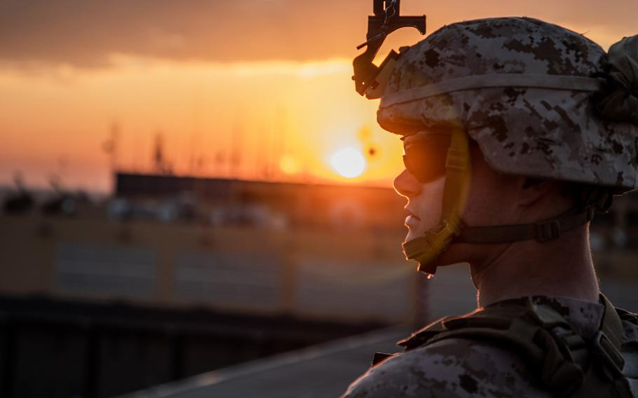 A U.S. Marine with 2nd Battalion, 7th Marines, assigned to the Special Purpose Marine Air-Ground Task Force-Crisis Response-Central Command 19.2, stands post during the reinforcement of the Baghdad Embassy Compound in Iraq, Jan. 4, 2020.