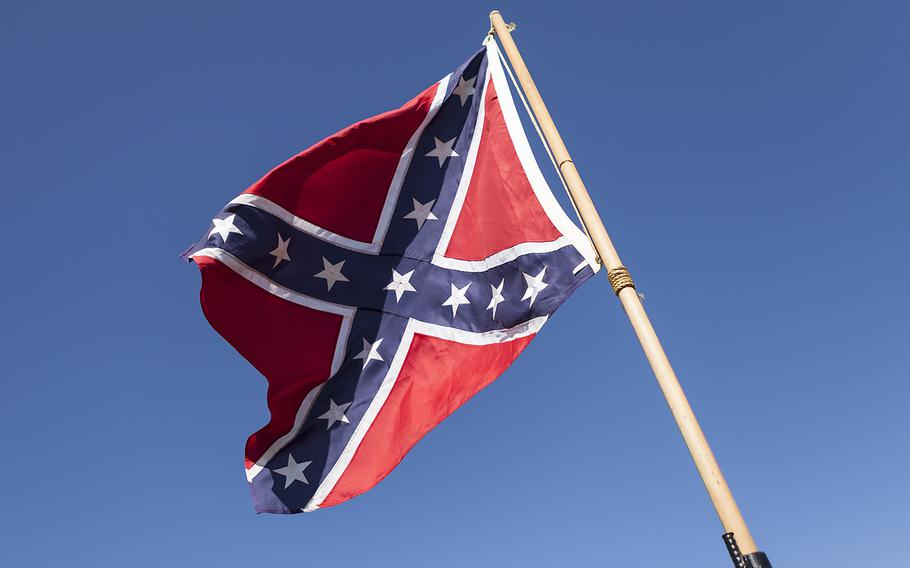 A Confederate battle flag flies in an undated photo.