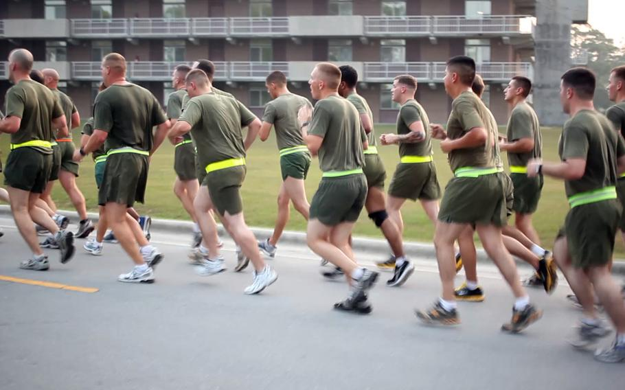 U.S. Marines with 26th Marine Expeditionary Unit conduct a command physical training session on Camp Lejeune, N.C., Aug. 5, 2011. Three Marines have died this year while exercising. Since 2010, there have been about two to three deaths each year associated with physical training.