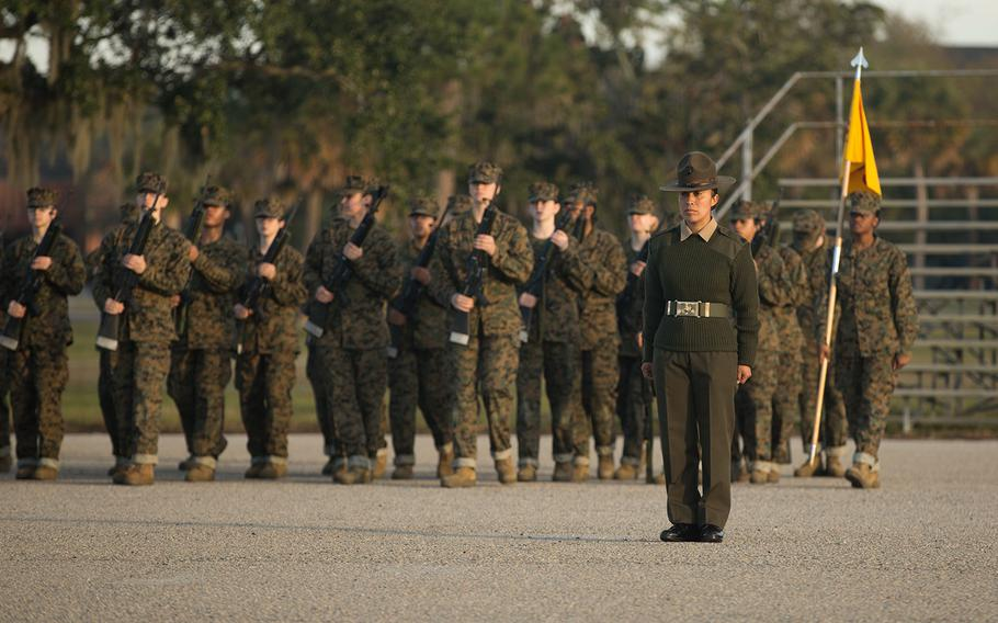 Sgt. Cristina Valenciatorres, a drill instructor with Papa Company, 4th Recruit Training Battalion, commands her platoon as they execute drill movements at Marine Corps Recruit Depot Parris Island, S.C., Nov. 22, 2019.
