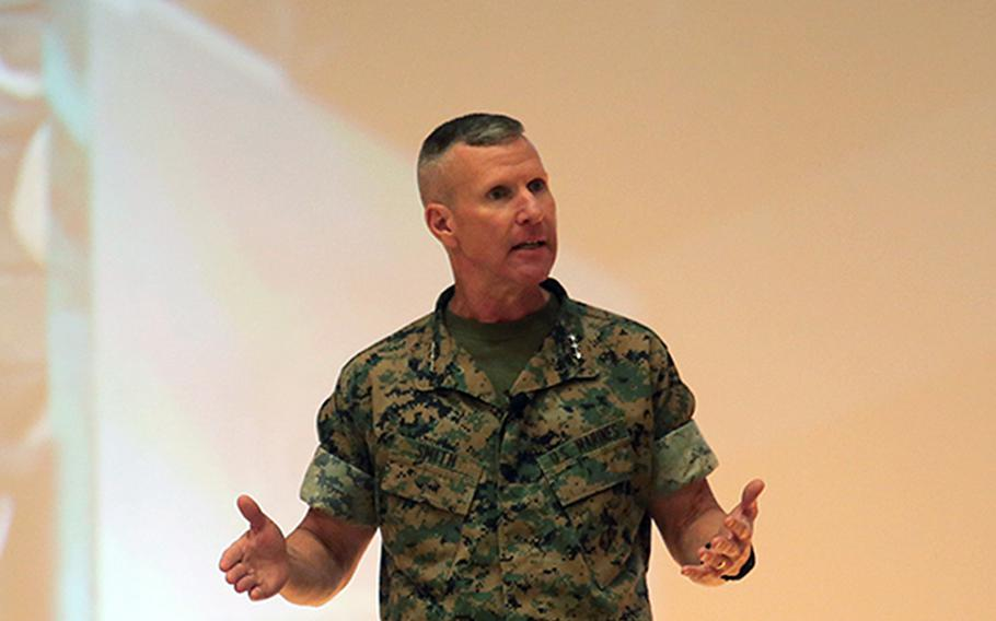 Lt. Gen. Eric Smith, commanding general of Marine Corps Combat Development Command and deputy commandant for Combat Development and Integration, speaks at Marine Corps Base Quantico in August 2020. The Corps plans to use small teams and long-range anti-tank systems to take out its enemies on the future battlefield, Smith said this week at a defense conference.
