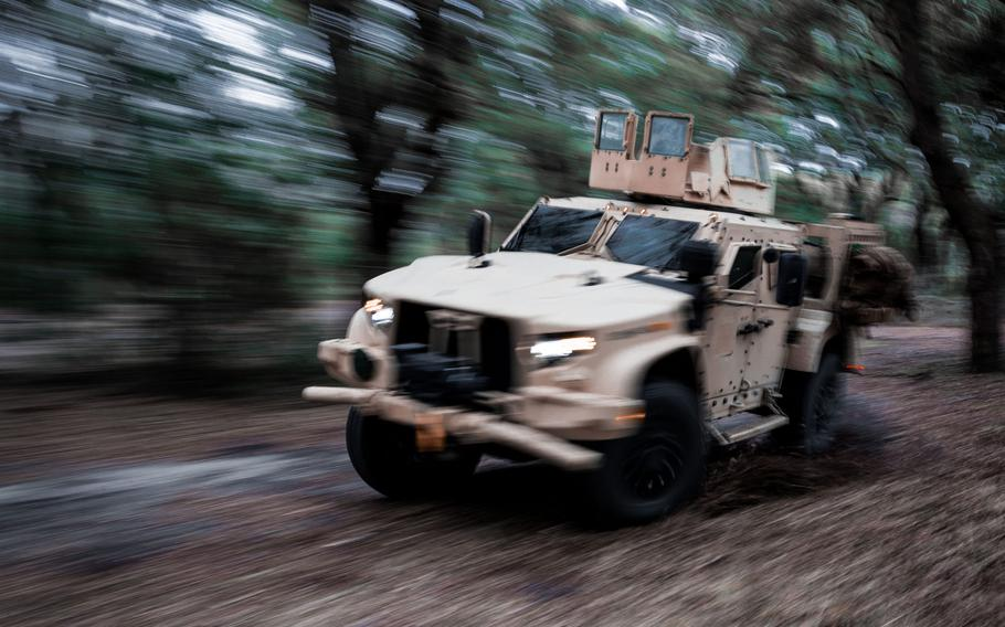 The Joint Light Tactical Vehicle on Camp Lejeune, N.C., Feb. 2, 2021. The Marine Corps is fielding long-range precision weapons that can be fired from mobile platforms like the JLTV as the service divests its heavy armor units.