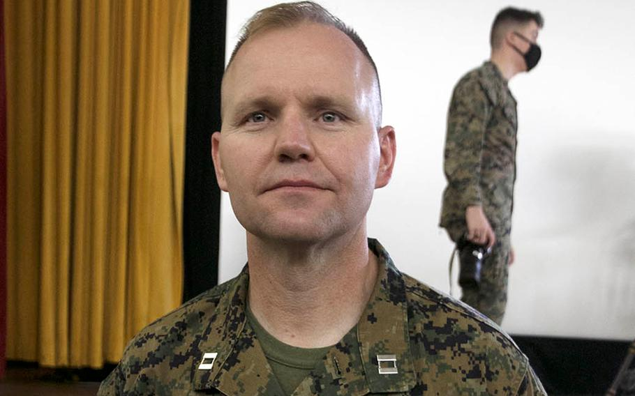 Marine Capt. Kevin Leishman, anti-terrorism force protection officer for the 3rd Marine Expeditionary Brigade, received the Purple Heart at Camp Courtney, Okinawa, Wednesday, Feb. 24, 2021, 16 years after he was shot during the Second Battle of Fallujah in Iraq.
