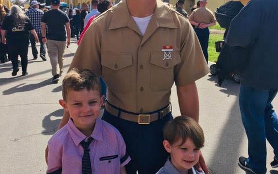Marine Lance Cpl. Chase Sweetwood at his graduation from Marine Corps Recruit Depot San Diego, Calif., in 2019.
