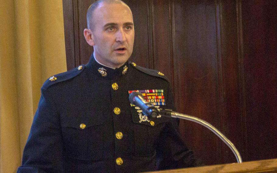 Marine Maj. Brandon Currie, seen here at a function in Detroit in March 2019, was relieved of command of Recruiting Station Cleveland along with the unit's  sergeant major, Sgt. Maj. Christopher Lillie and the operations officer, whom officials refused to name.