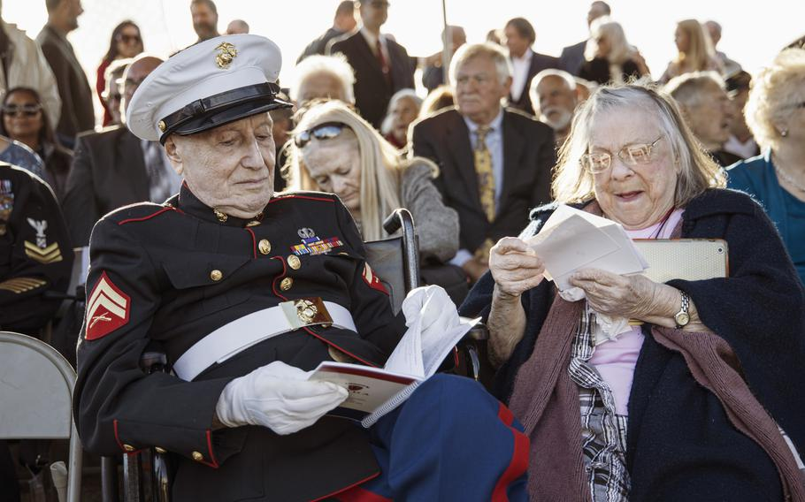 Samuel Prestigiacomo, a former Marine coporal, was one of 28 Iwo Jima veterans attending a sunset ceremony on Saturday, Feb. 15, 2020, at Marine Corps Base Camp Pendleton, Calif., to mark the 75th anniversary of the World War II battle. The event was expected to be the last formal anniversary ceremony involving veterans of the battle, the Marine Corps said.
