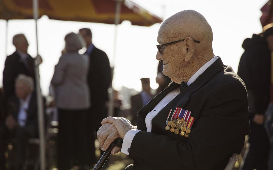 Retired Master Gunnery Sgt. Len Maffioli, an Iwo Jima veteran and master of ceremonies, waits for the start of a sunset ceremony at Marine Corps Base Camp Pendleton, Calif., as part of a 75th commemoration of the Battle of Iwo Jima on Saturday, Feb. 15, 2020. Maffioli was one of 28 Iwo Jima veterans who attended the event, which the Marine Corps said is expected to be the final formal West Coast anniversary event for the battle's veterans.