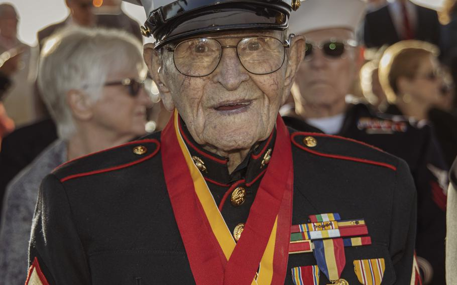 Marine Iwo Jima veteran Dell Littrell, a former private first class, is pictured before the start of a sunset ceremony commemorating the 75th anniversary of the Battle of Iwo Jima at Marine Corps Base Camp Pendleton, Calif., on Saturday, Feb. 15, 2020. Littrell was one of 28 Iwo Jima veterans who attended the event, which included a wreath-laying, 21-gun artillery salute and a traditional cake-cutting.
