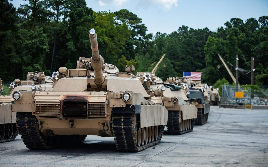 U.S. Marine Corps M1A1 Abrams tanks with 2nd Tank Battalion, 2nd Marine Division are staged in a lot on Camp Lejeune, N.C., July 27, 2020. After serving 2nd MARDIV for more than three-quarters of a century, 2nd Tank Battalion will deactivate as part of the Marine Corps' modernization plan.