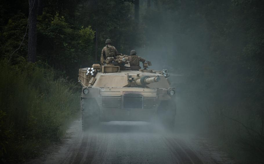 U.S. Marines with 2nd Tank Battalion, 2nd Marine Division track through tank trails on Camp Lejeune, N.C., July 27, 2020. After serving 2nd MARDIV for more than three quarters of a century, 2nd Tank Battalion will deactivate as part of the Marine Corps' modernization plan.