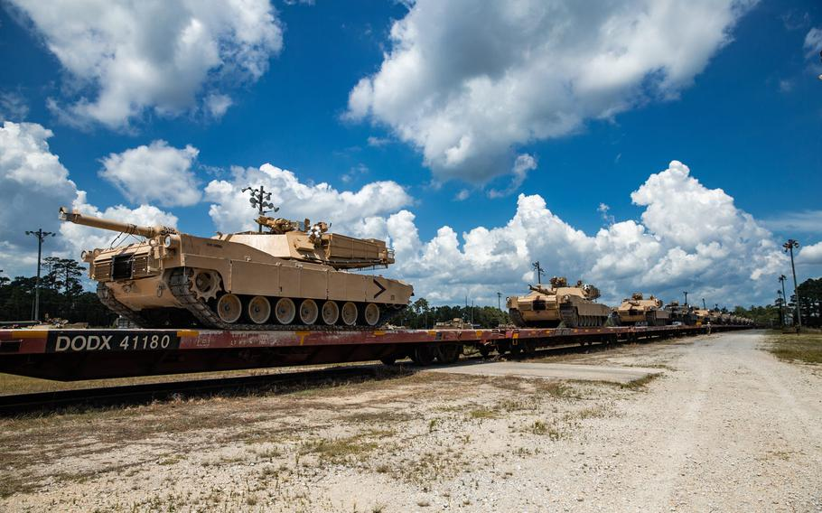 U.S. Marine Corps M1A1 Abrams tanks with 2nd Tank Battalion, 2nd Marine Division are staged on railroad cars on Camp Lejeune, N.C., July 27, 2020. The 2nd Tank Battalion will deactivate as part of the Marine Corps' modernization plans.