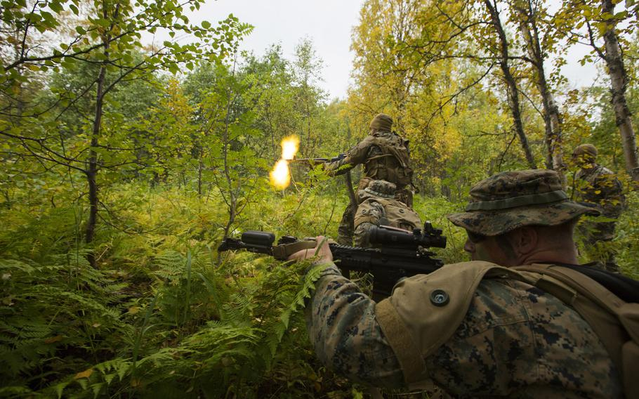 U.S. Marines with Marine Rotational Force — Europe 20.2, Marine Forces Europe and Africa during a force-on-force field training exercise in Setermoen, Norway, in September 2020. About 350 Marines and sailors from the 3rd Battalion, 6th Marine Regiment, will begin Arctic warfare training in Norway after quarantining for the coronavirus, Marine Forces Europe and Africa said in a statement Oct. 28.