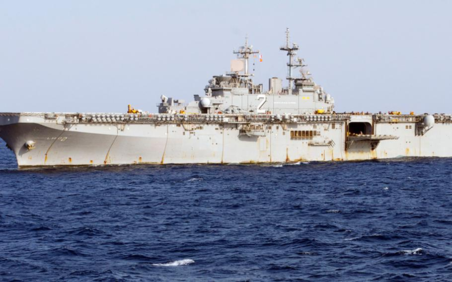 This undated image provided by the U.S. Navy shows the amphibious assault ship USS Essex in the Pacific Ocean.