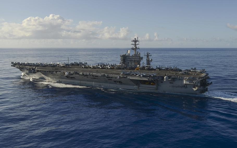 The aircraft carrier USS Nimitz (CVN 68) transits the Pacific Ocean, June 17, 2017.