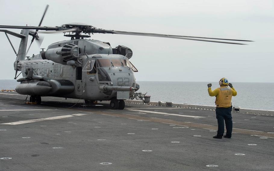 The Essex Amphibious Ready Group and 13th Marine Expeditionary Unit continued extensive search and rescue operations for a Marine who went missing. On Saturday, Aug. 11, the 13th MEU reported that the search had already covered more than 6,700 square nautical miles of water.