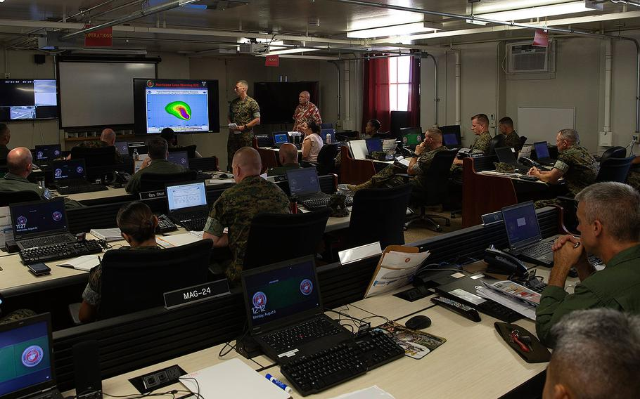 Marine Corps Base Hawaii leaders gather to discuss preparations for Hurricane Lane on Aug. 22, 2018.
