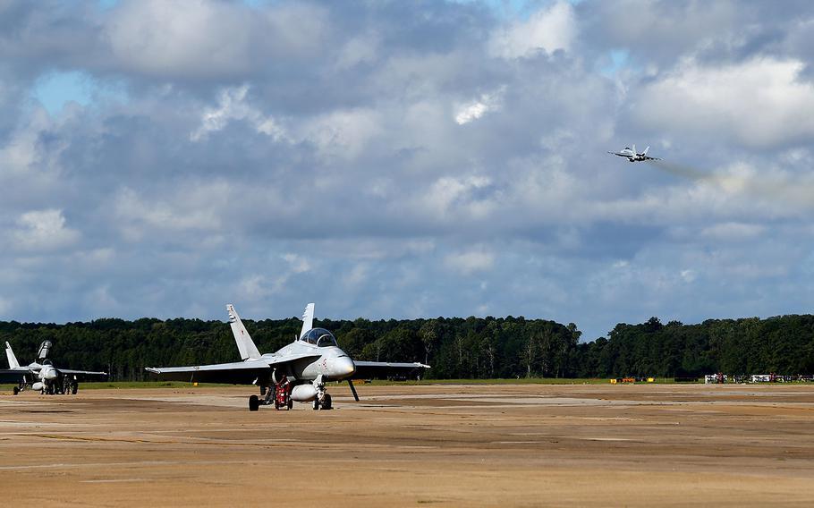 Aircraft prepare to evacuate Naval Air Station Oceana in Virginia Beach, Virginia on Sept. 12, 2018.