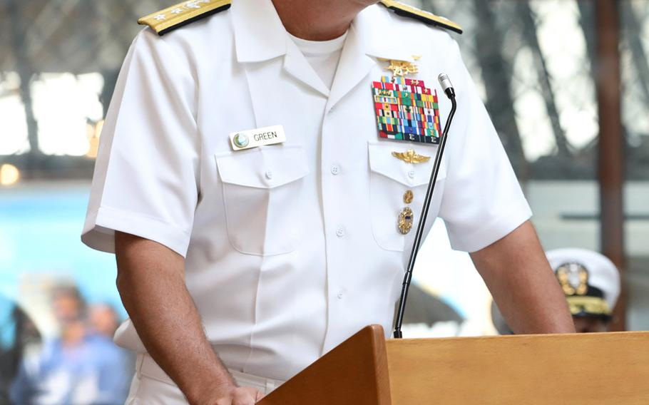 """Rear Adm. Collin P. Green, shown delivering remarks in Washington on July 30, 2019, has called for an ethics review of the Special Warfare Command. """"I don't know yet if we have a culture problem, I do know that we have a good order and discipline problem that must be addressed immediately,"""" Geeen wrote in a message to the force."""
