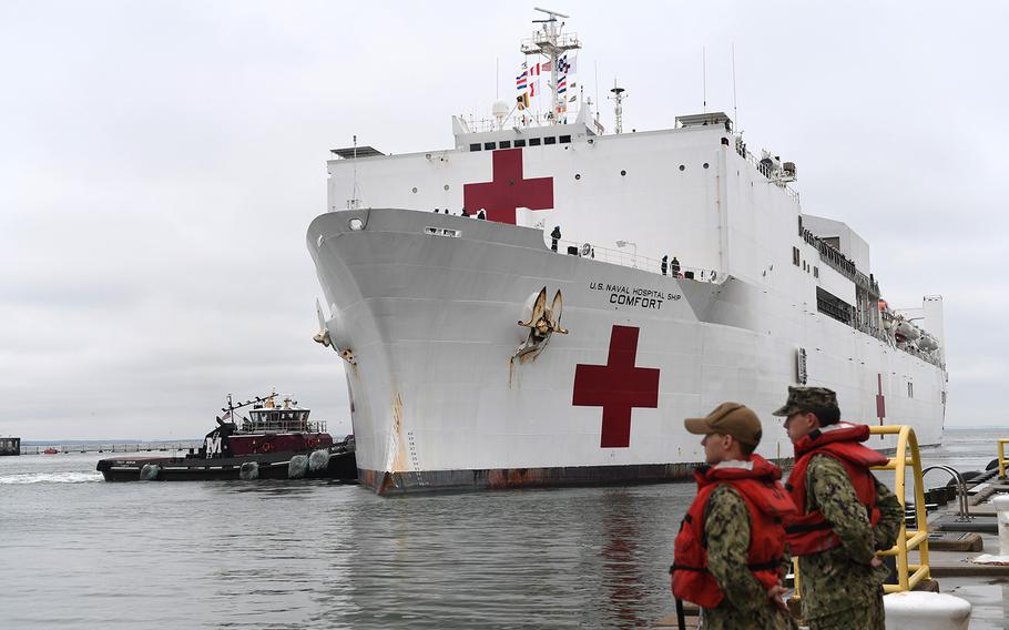 The USNS Comfort, shown here at Naval Station Norfolk in November 2019, will be sent to New York to help with the coronavirus outbreak.