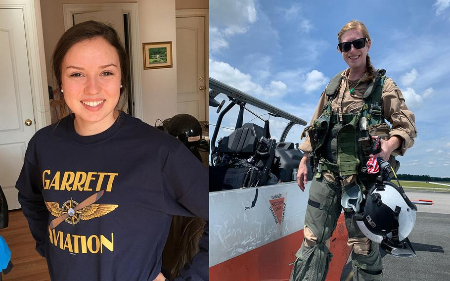 From left are U.S. Coast Guard Ensign Morgan Garrett, 24, from Weddington, N.C., and U.S. Navy Lt. Rhiannon Ross, 30, from Wixom, Mich.