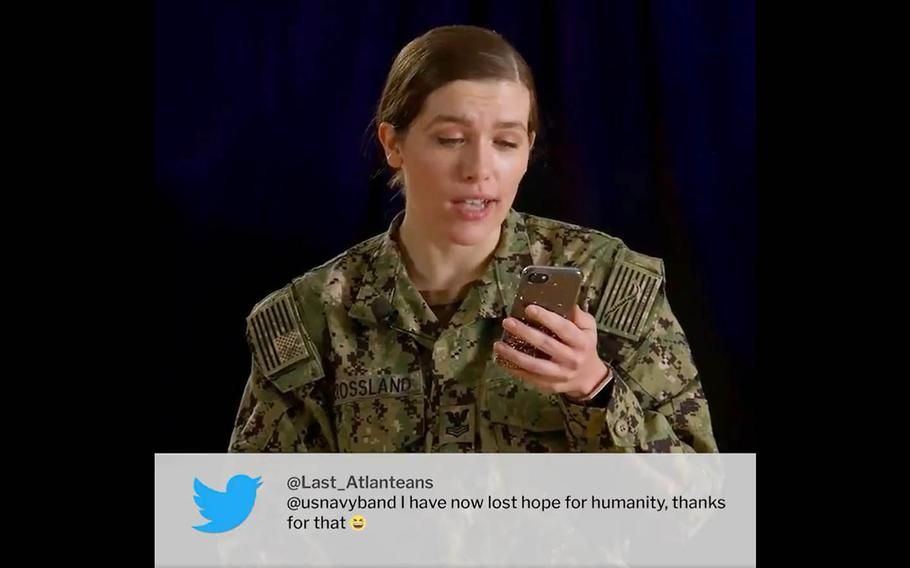 A Navy Band member reads a critical tweet about the band's sea-shanty version of a Taylor Swift song in this screenshot of a video posted to Twitter, Monday, Feb. 1, 2021.