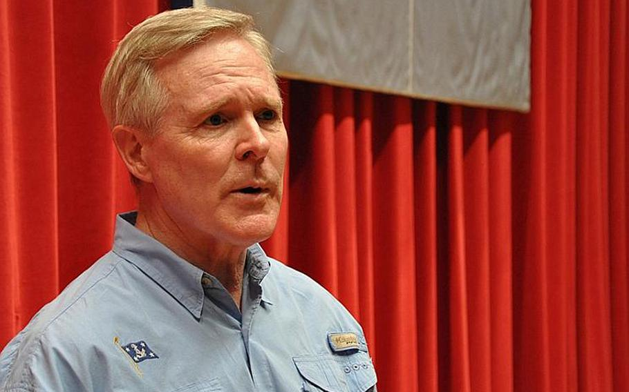 """Secretary of the Navy Ray Mabus speaks with sailors at an all-hands meeting at Yokosuka, Japan, on July 16, 2012. Mabus discussed the strategy behind his """"green fleet"""" of ships powered with biofuels, as well as the importance of the Pacific fleet."""